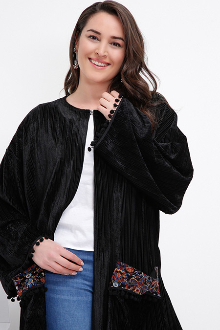 Alia Siyah Desenli Kimono
