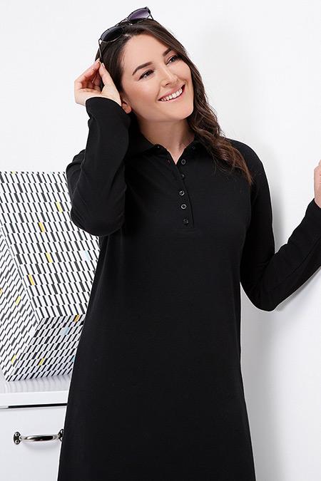 Alia Siyah Doğal Kumaşlı Spor Elbise