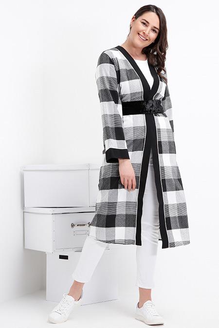 Alia Siyah Ekose Detaylı Kimono