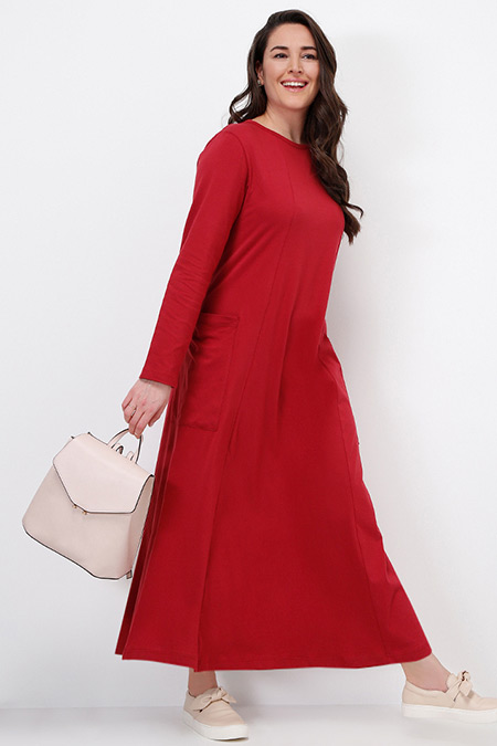 Alia Vişne Doğal Kumaşlı Cep Detaylı Elbise