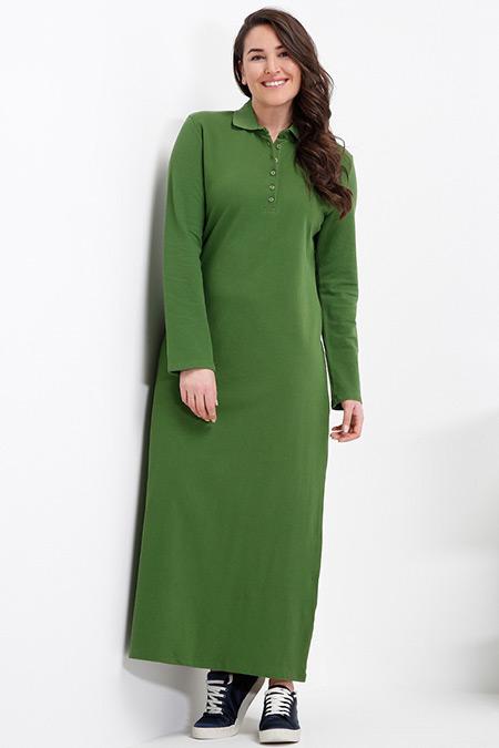 Alia Yeşil Doğal Kumaşlı Spor Elbise