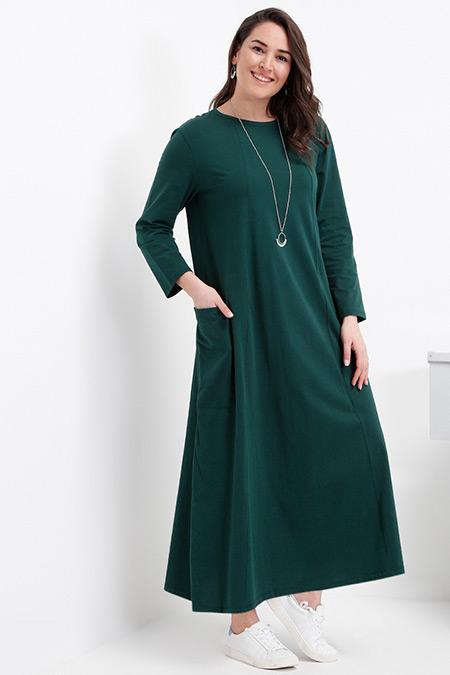 Alia Zümrüt Doğal Kumaşlı Cep Detaylı Elbise