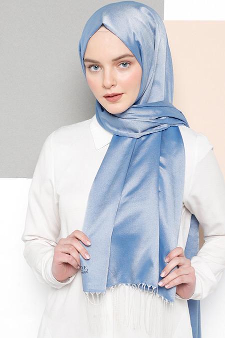 Armine Mavi Düz Renk Şal