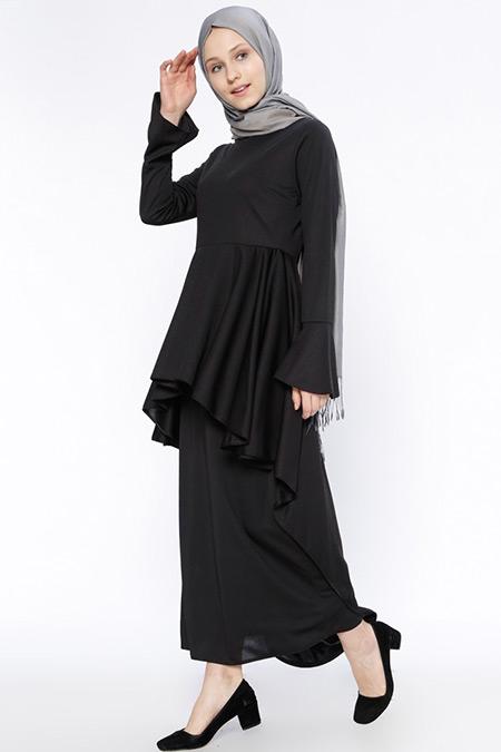 Beha Tesettür Siyah Volanlı Elbise