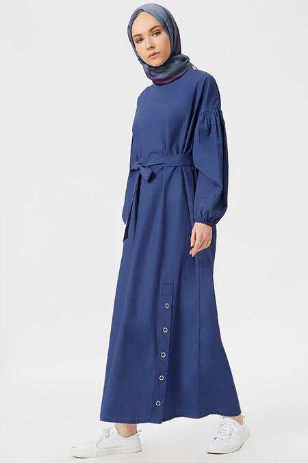 Benin İndigo Çıtçıt Detaylı Elbise