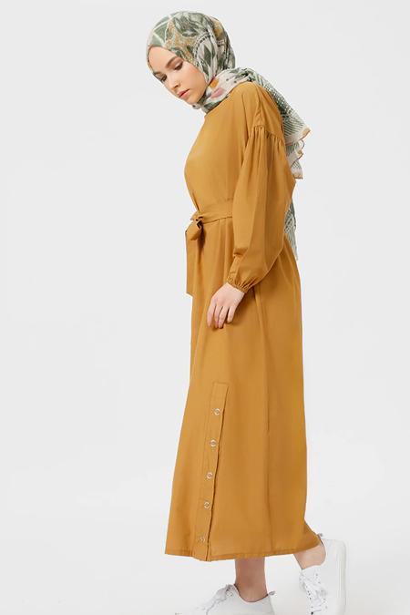 Benin Camel Çıtçıt Detaylı Elbise