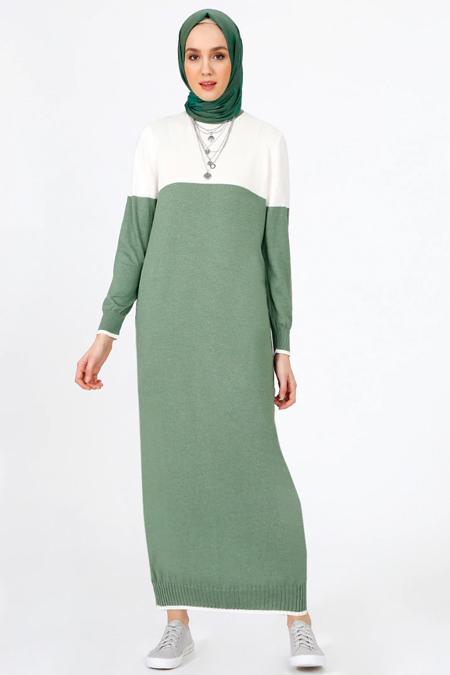 Benin Ekru Yeşil Triko Elbise