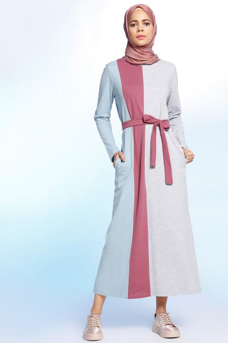 Benin Gri Doğal Kumaşlı Garnili Elbise
