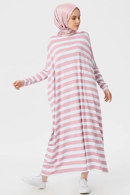 Benin Gül Kurusu Çizgili Salaş Elbise