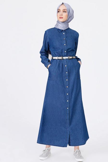 Benin İndigo Doğal Kumaşlı Kot Elbise