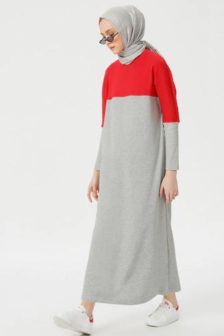 Benin Kırmızı Garnili Elbise