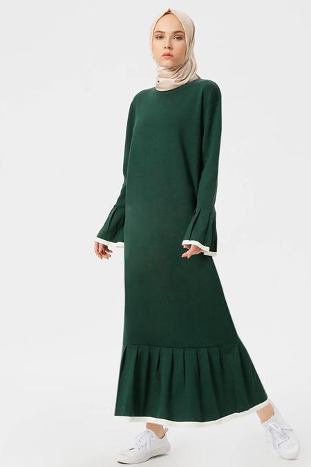 Benin Koyu Yeşil Triko Elbise