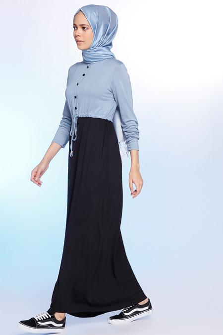 Benin Mavi Doğal Kumaşlı Beli Büzgülü Elbise
