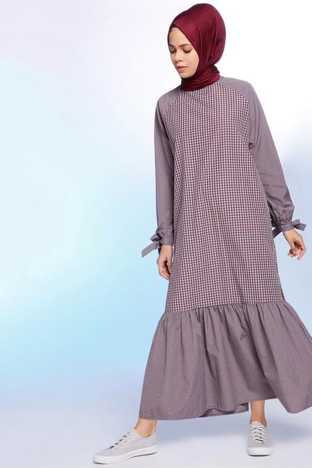 Benin Mürdüm Pötikareli Elbise