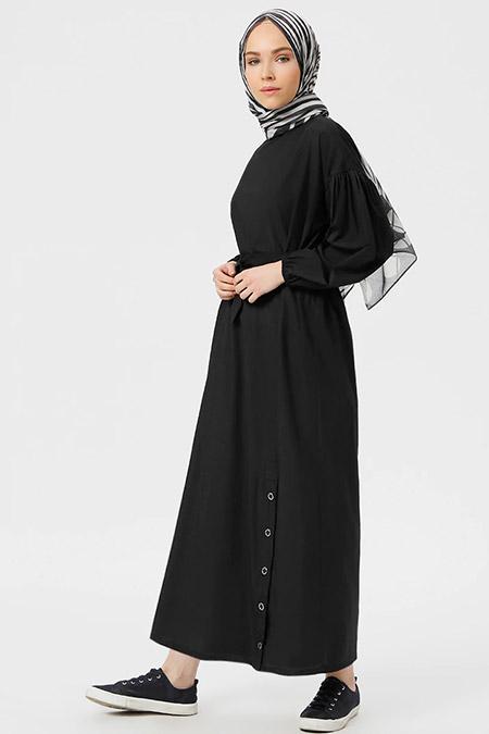 Benin Siyah Çıtçıt Detaylı Elbise