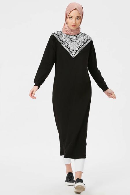 Benin Siyah Baskılı Elbise