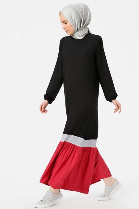Benin Siyah Gül Kurusu Doğal Kumaşlı Garnili Elbise