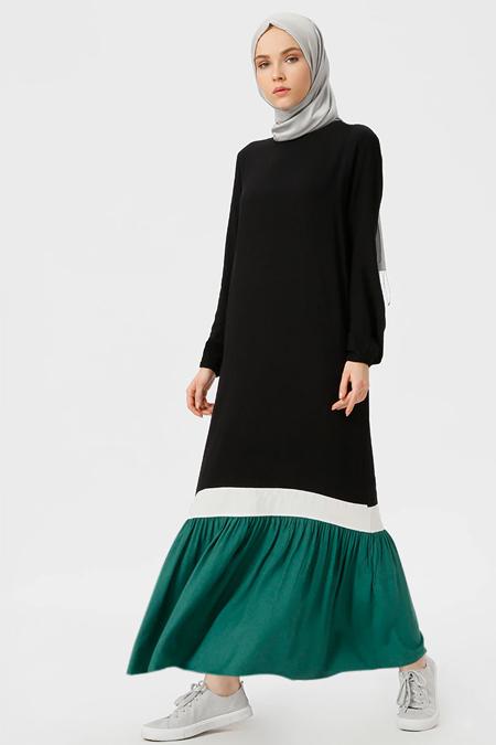 Benin Siyah Yeşil Doğal Kumaşlı Garnili Elbise