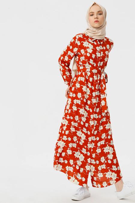 Benin Turuncu Doğal Kumaşlı Boydan Düğmeli Elbise