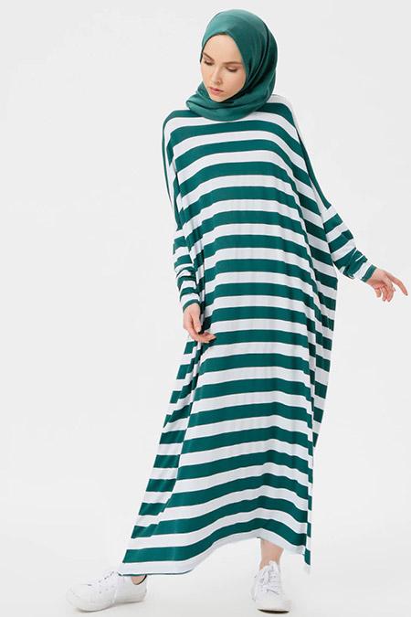 Benin Yeşil Çizgili Salaş Elbise