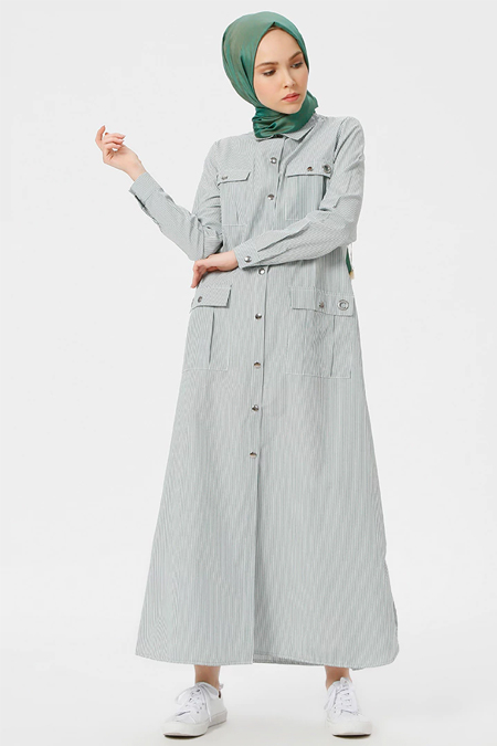 Benin Yeşil Çıtçıtlı Çizgili Elbise
