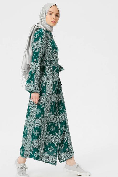 Benin Yeşil Doğal Kumaşlı Desenli Elbise