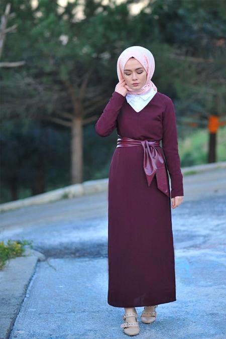 Butik Minya Bella Deri Detaylı Elbise