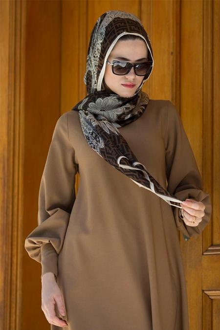 EMİLYA TASARIM Kahve Kol Detay Elbise