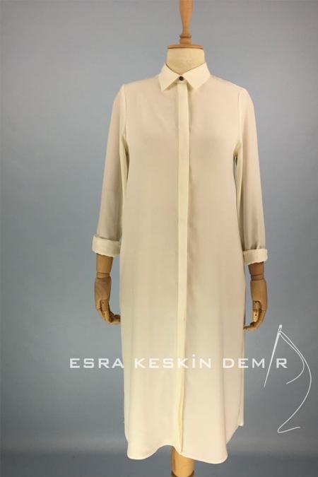 Esra Keskin Demir Beyaz Basic Tunik