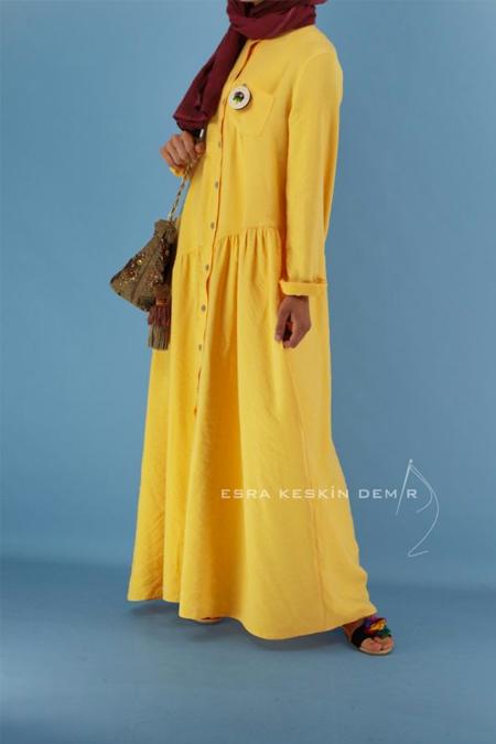 Esra Keskin Demir Sarı Song Elbise