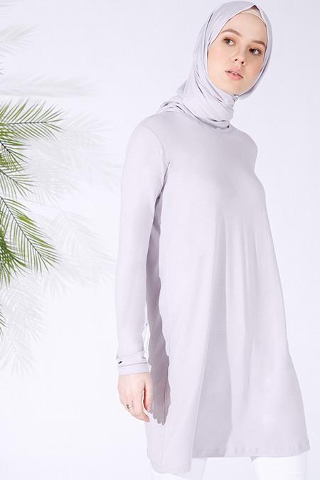 Everyday Basic Açık Lila Doğal Kumaşlı Basic Tunik