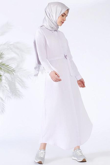 Everyday Basic Açık Lila Gizli Düğmeli Elbise