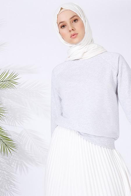 Everyday Basic Gri Ribanalı Sweatshirt