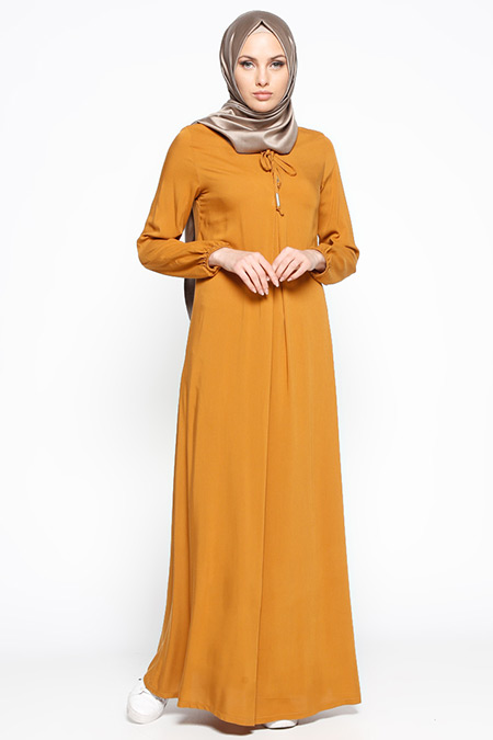 Ginezza Hardal Pile Detaylı Elbise