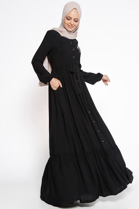 Ginezza Siyah Drop Baskı Detaylı Elbise