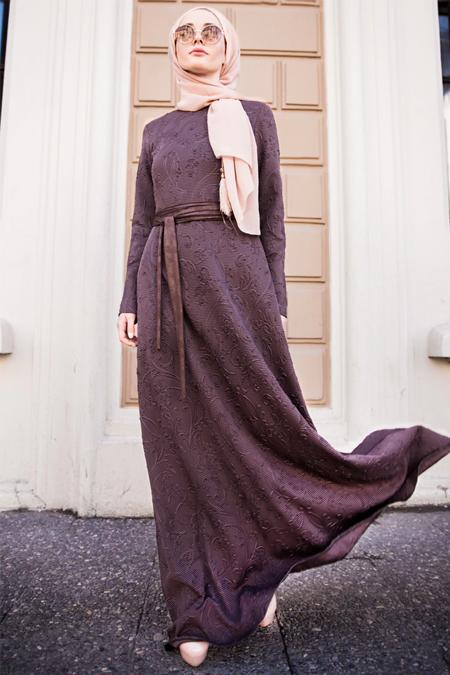 Lef`zen Kahverengi Demet Elbise