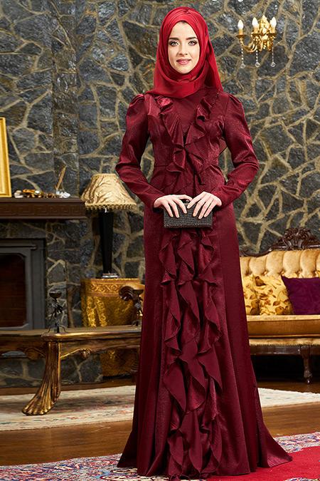 Mevra Bordo Esmeralda Abiye Elbise