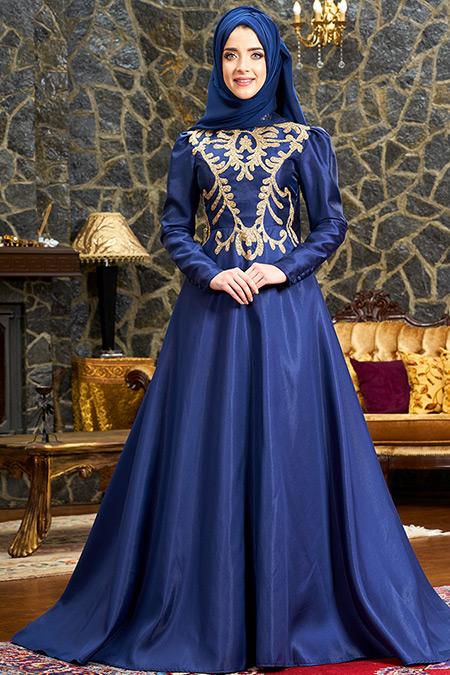 Mevra Lacivert Şehrazat Abiye Elbise