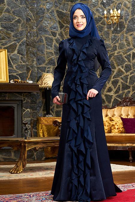Mevra Lacivert Esmeralda Abiye Elbise