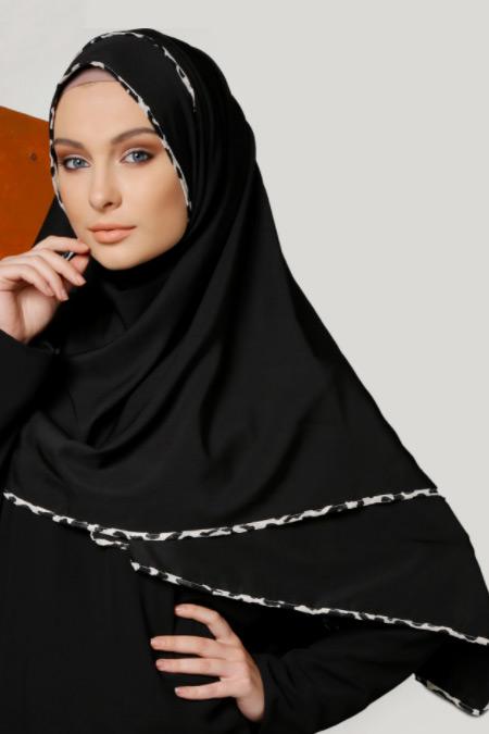 Mirach Siyah Biyeli Krep Şal