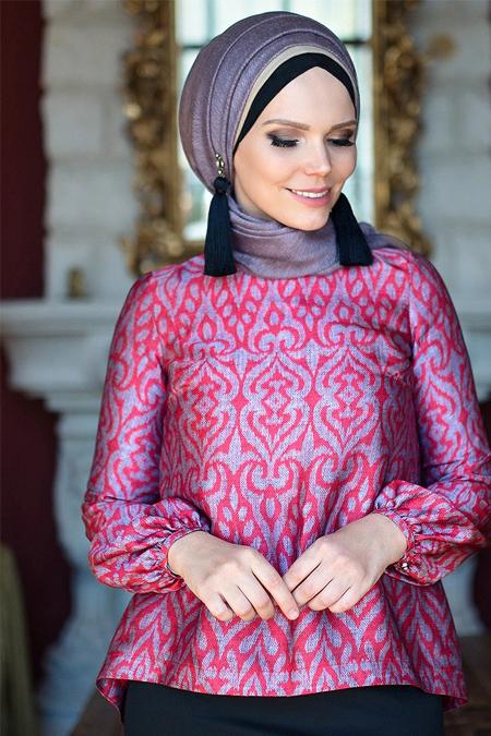 Muslima Wear Kırmızı Lale Bluz