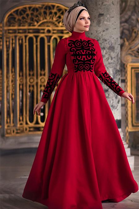 Muslima Wear Kırmızı Maria Elbise