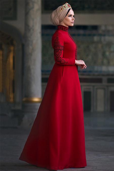 Muslima Wear Kırmızı Mehendi Elbise