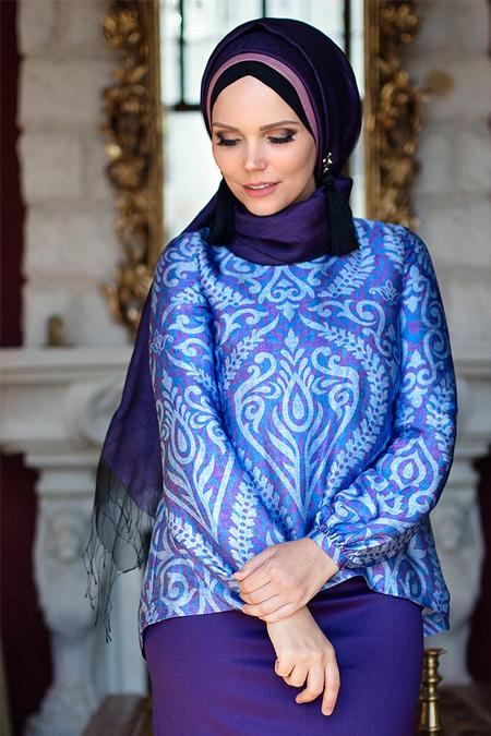 Muslima Wear Mor Lale Bluz