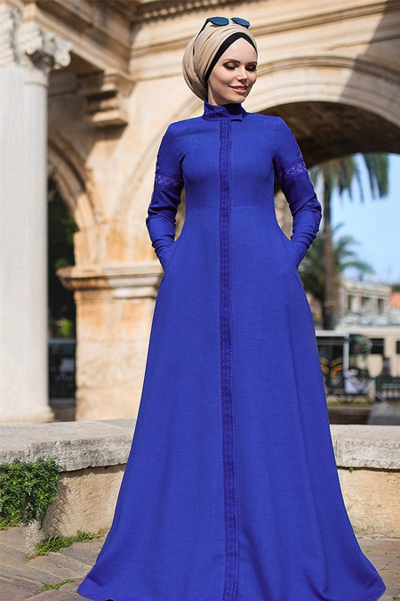 Muslima Wear Saks Mehendi Elbise