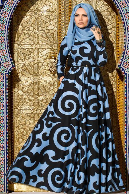 Muslima Wear Siyah Mavi Silkway Elbise