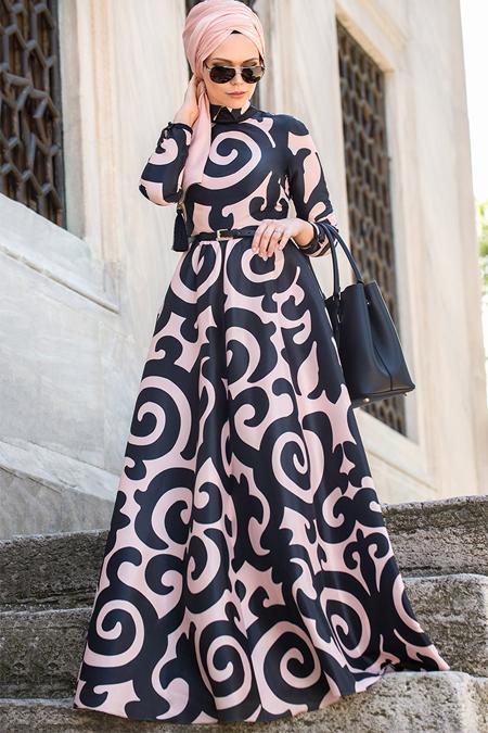 Muslima Wear Siyah Pudra Silkway Elbise