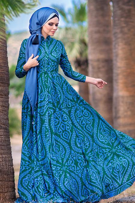 Muslima Wear Yeşil Mavi Sogdiana Elbise