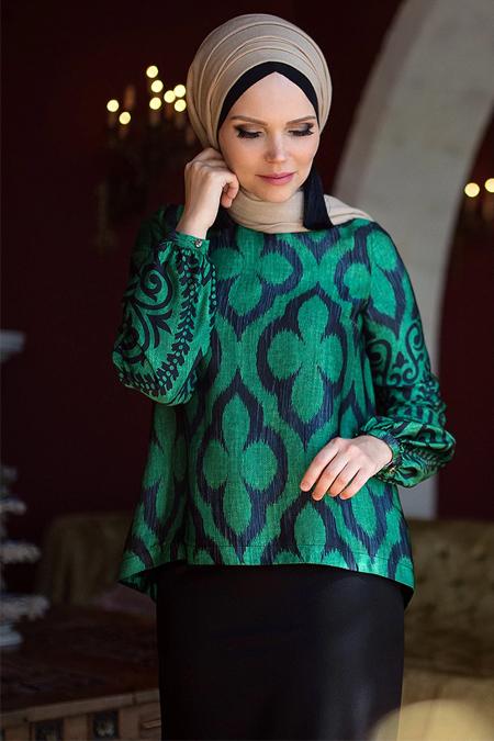 Muslima Wear Zümrüt Yeşil Lale Bluz