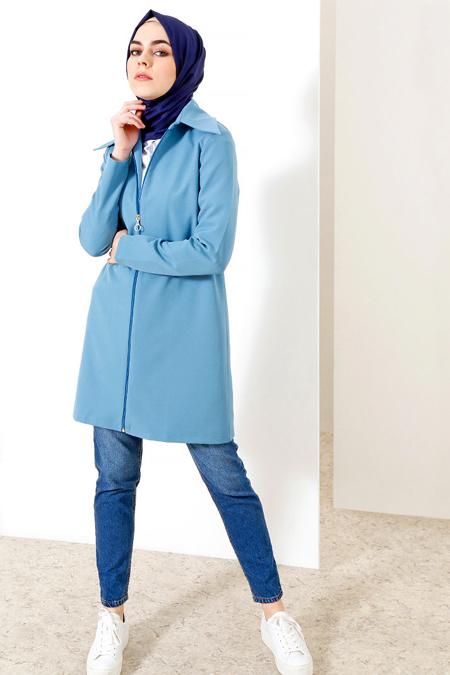 Refka Bebe Mavisi Fermuarlı Uzun Ceket